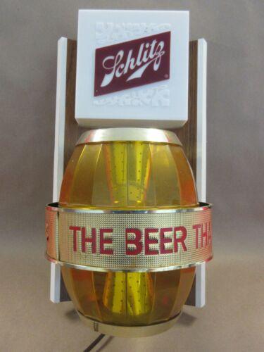 Schlitz Beer Light Up Spinning Barrel Bar Sign 1960