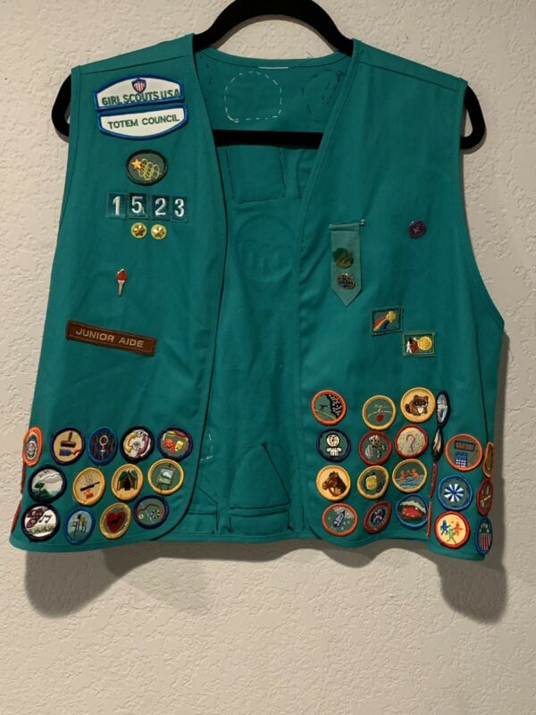 Vintage Girl Scouts Vest w/ Patches Pins