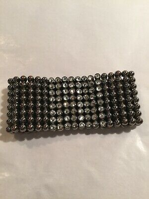 """- """" WOW"""" Gorgeous Pewter Color Beaded & Clear Jeaeled Stretch Bracelet"""