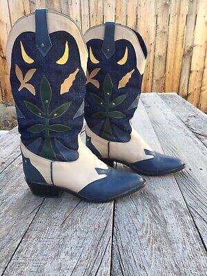 WOMENS ACME COWBOY LEATHER JEAN TAN BOOTS SIZE 6.5 WOMENS DRESS