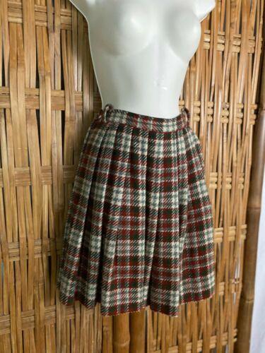 """Vtg 60s Hand Made Wool Plaid Pleated Short Skirt School Girl Child Waist 22""""  S"""