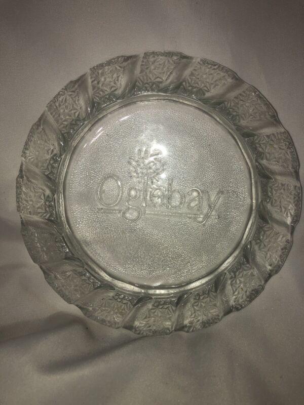 Rare Vintage Oglebay Textured Glass Ashtray Souvenir