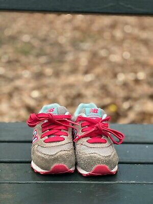 New Balance 574 Girls Shoes Size 5 Toddler Pink/ Sky Blue/ Grey