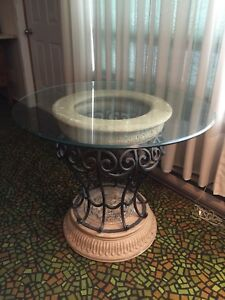 Round Glass Table Top with Iron Wrought Base