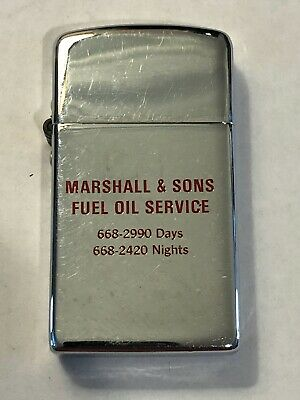 Vintage Slim Chrome Park Lighter Marshall & Sons Fuel Oil Service Advertisement