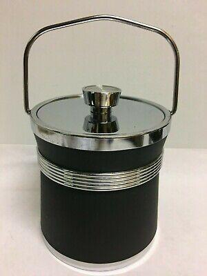 Vintage Retro Chrome Black Vinyl Ice Bucket Folding Handle