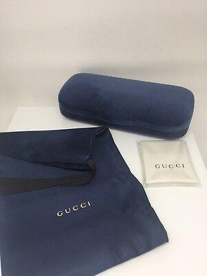 New Gucci Case Hard Shell Velvet Gucci Sunglasses & Eyeglasses Case Blue Velvet