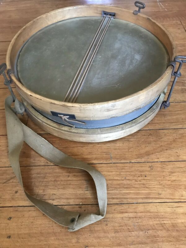 """Antique 12"""" Vintage Wood & Brass Snare Drum Rare Percussion Gear"""