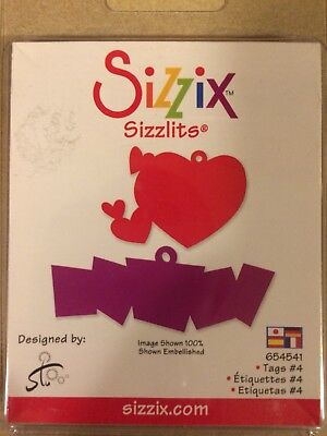 NEW! Retired Sizzix Sizzlits Die- Tags #4 - #654541