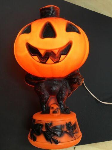 "Vintage Halloween Empire Blow Mold Jack O Lantern Pumpkin Black Cat Witches 14"""