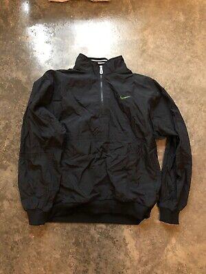 Men's Vintage Nike Black Windbreaker Logo Quarter Zip Jacket-Size XL