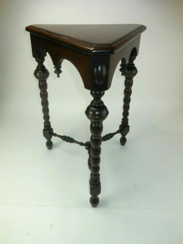 Antique Kittinger Triangle Walnut Table Stand w Turned Legs Triangle Top