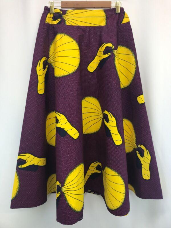 NEW Wax Print African Maxi Skirt Boho Hippie Purple Yellow Women