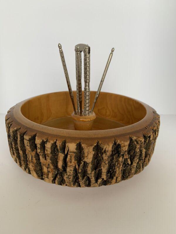 Vintage Ellwood Rusticware Wood Treebark Nut Bowl with tools for walnuts