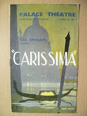 Palace Threare Programme 1948- CARISSIMA by Eric Maschwitz