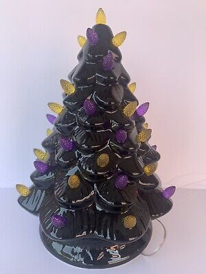 "Halloween Light Up Tree…10"" Tall/ Candy Corn Inspired."