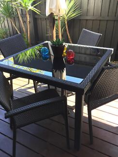 outdoor furniture 4 chairs black glass table