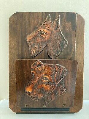 Vintage Wooden Newspaper / Magazine /Letter Rack , Terrier Dogs Wall Hanging