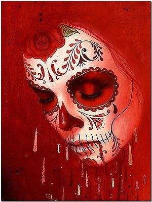 Day of the Dead Sugar Skull Red High Quality Canvas Print Drawing Photo Wall Art