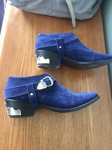Toga Pulla Blue Suede Western Boots (shoes)