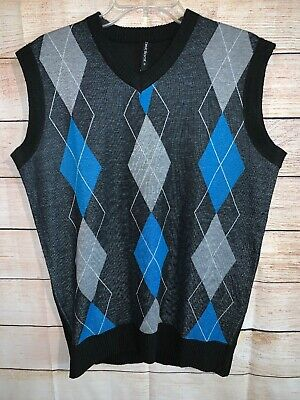 True Rock Men's V-Neck Argyle Sweater Best Medium