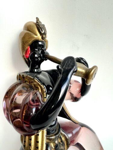 Barovier Trumpetist Figure Glass Gold Flecks Murano Venezia Musician