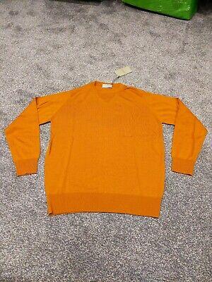 John smedley merino wool markeaton c/n l/s regular fit bronze pullover  size med