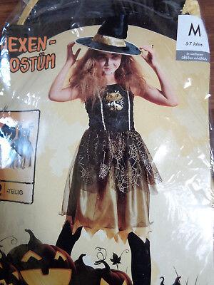 Halloween Kostüm Fasching Anzug Hexe Kleid mit Hut 5-7 Jahre NEUWARE+OVP (Halloween Kostüm Kleid Anzug)