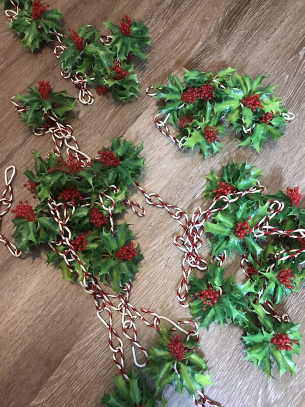 Vintage Christmas Garland Red Berries Holly Green Leaves Candy Canes 18 Feet