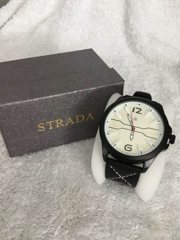 Strada+Japanese+Movement+Water+Residtance+Black%2FCream+Watch+New+7%E2%80%9D%2F8.75%E2%80%9D