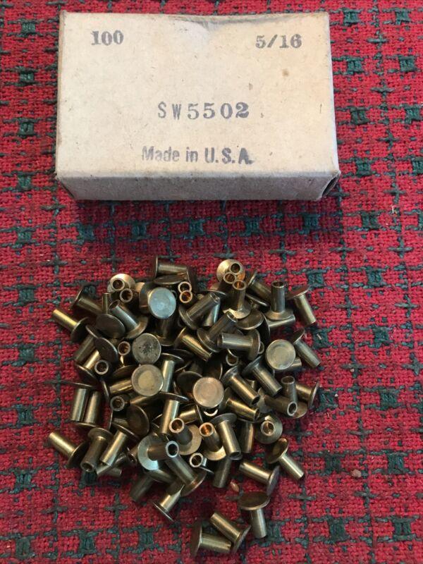 Vintage brass rivets fasteners 5/16 . 100pc NOS USA