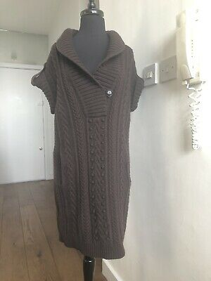 Alexander McQueen Brown Wool Knitted Poncho Coat Vintage SZ S AW 2007