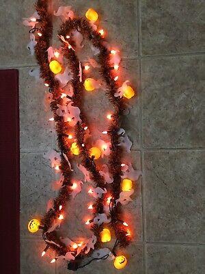 Vintage Halloween Blow Mold 12' String Lights Tinsel Garland Ghosts & Pumpkins