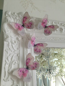 Shabby Chic Pink Cabbage Rose 3D Butterflies Wedding Girls Bedroom