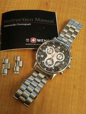 Vintage Wenger Swiss Military Commando Chronograph Men's Watch PRISTINE!
