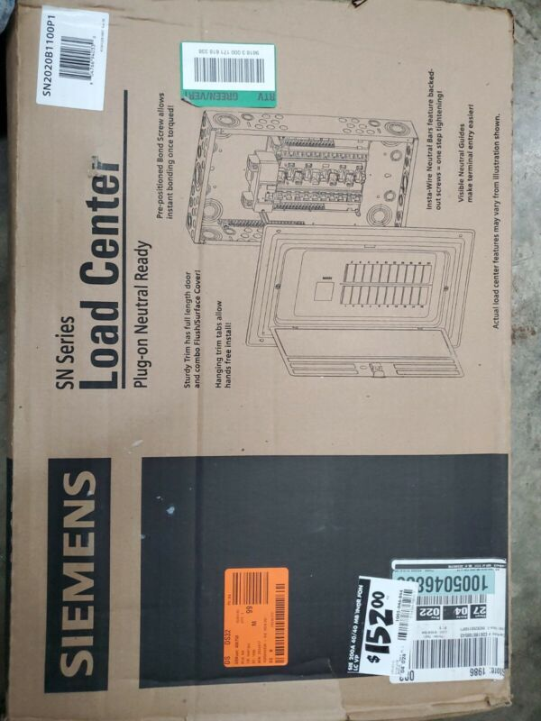 Siemens S2020b1100p 20 Circuit 100 Amp Value Pack Load Center S2020B1100P