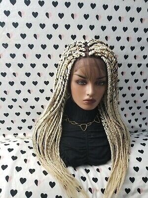 Fully Hand Braided 4x4 Lace Front Wig (Box Braid) Color 613/27 Blonde