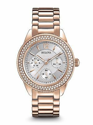 Bulova Women's 97N101 Quartz Swarovski Crystal Dial Rose Gold Dress Watch
