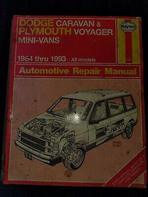 1984 Thru 1993 Dodge Caravan Plymouth Voyager Haynes Repair Manual