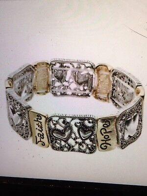 Faith, Hope And Love Heart Bracelet