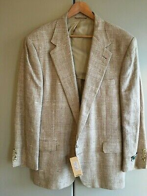 Joseph Abboud. Hemp and silk mix jacket. Beige check. Single breasted. Size 44.
