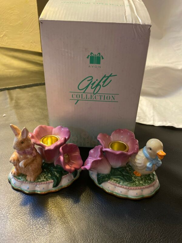 Avon Brand Springtime Taper Candle Holders