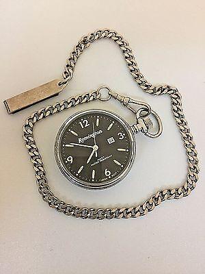 Vintage Remington America's Oldest Gunmaker Silver Tone Pocket Watch w/ Chain