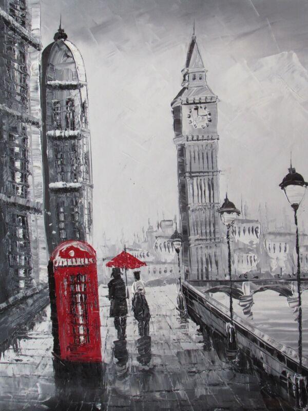 romantic+lovers+couple+london+england+large+oil+painting+art+cityscape+original