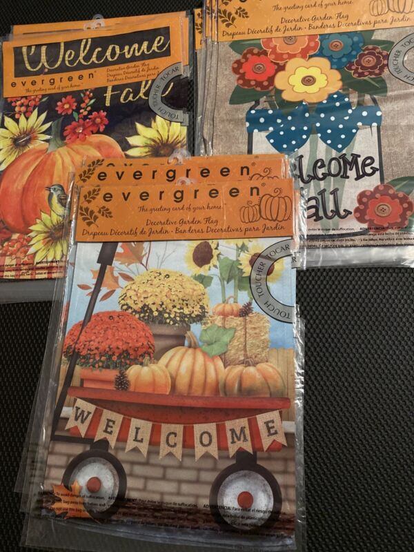 Wholesale Lot of 18 Evergreen Double Sided Fall Themed Flags