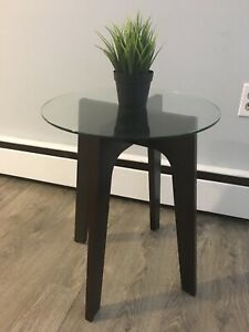 Glass and wooden round end table
