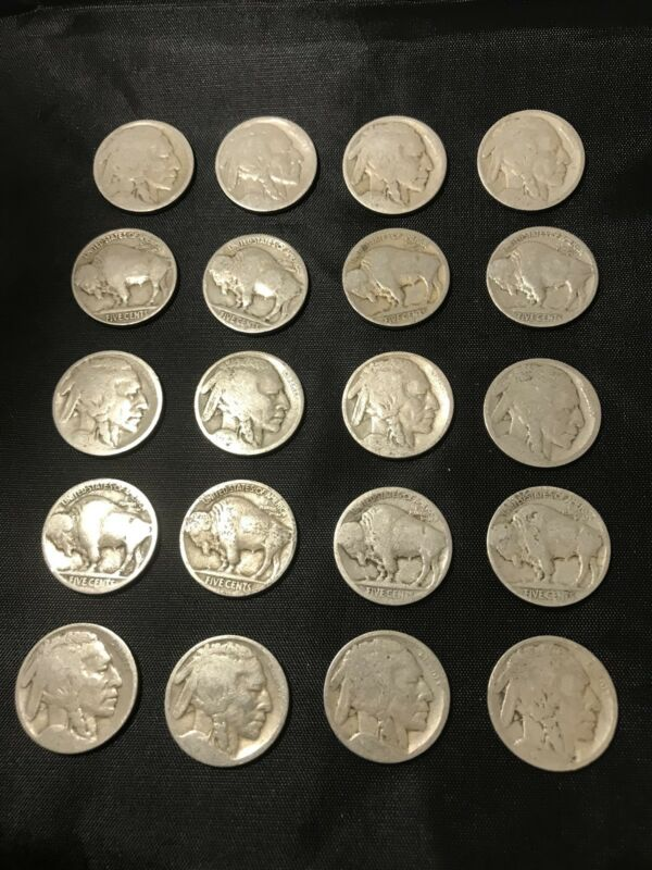 VINTAGE United States Coin Lot Of 21 Buffalo Nickels 1910s-1930s FREE SHIPPING