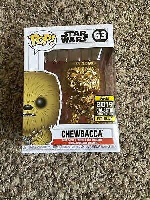 Funko Pop Gold Chrome Chewbacca 2019 Star Wars Celebration #63 Galactic