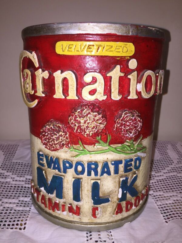 VINTAGE 1975 CARNATION MILK PROMOTIONAL ADVERTISEMENT CHALKWARE CANNISTER~RARE