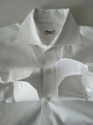 Finamore 1925 Napoli Cucita a Mano mother of pearl white dress shirt 16-41